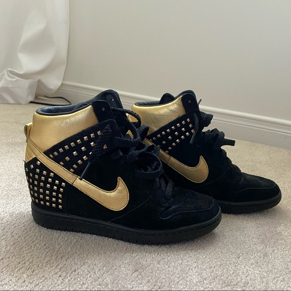 Black and Gold Studded Nike Wedge Shoes